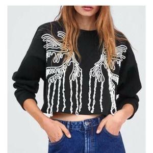 Zara Trafaluc Cropped Embellished Sweatshirt M